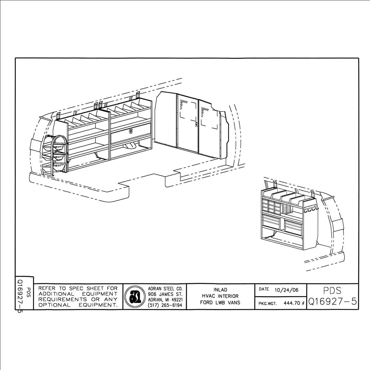 Adrian Steel Hvac Service Package Us Upfitters Drawing Review Commercial Van Interiors Model F